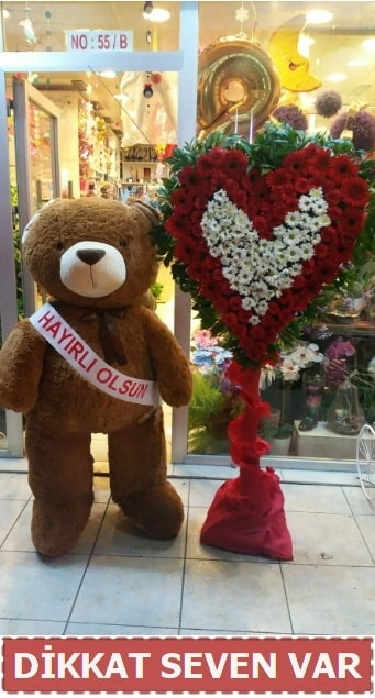 1.5 Metre peluş ayı ve Kalp  Muş çiçek gönderme sitemiz güvenlidir