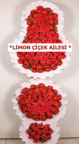 3 katlı kırmızı düğün açılış çiçeği  Muş çiçek gönderme