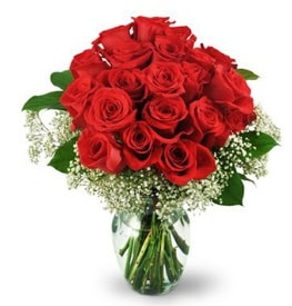 25 adet kırmızı gül cam vazoda  Muş çiçek , çiçekçi , çiçekçilik