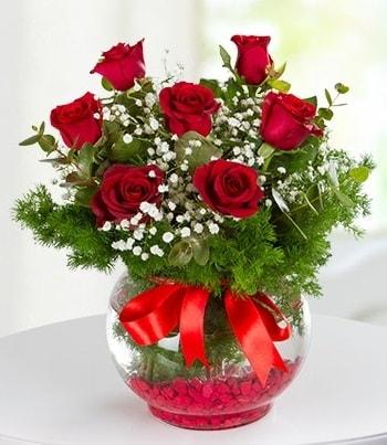 fanus Vazoda 7 Gül  Muş çiçek , çiçekçi , çiçekçilik