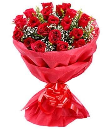 21 adet kırmızı gülden modern buket  Muş çiçek gönderme