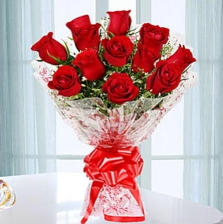 11 adet kırmızı gülden görsel şık buket  Muş ucuz çiçek gönder