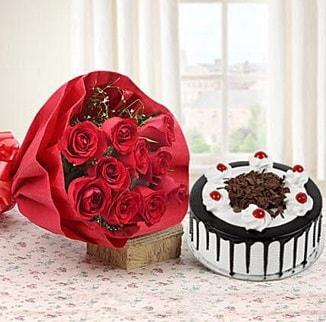 12 adet kırmızı gül 4 kişilik yaş pasta  Muş çiçek , çiçekçi , çiçekçilik