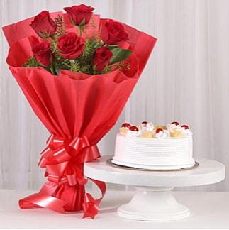 6 Kırmızı gül ve 4 kişilik yaş pasta  Muş çiçek , çiçekçi , çiçekçilik