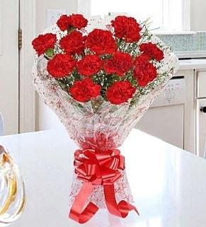 12 adet kırmızı karanfil buketi  Muş İnternetten çiçek siparişi