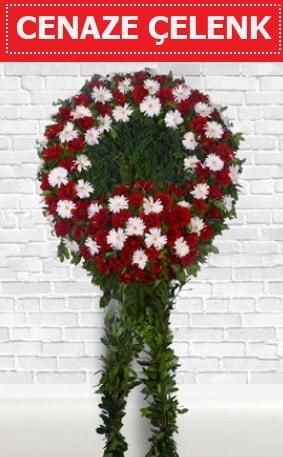 Kırmızı Beyaz Çelenk Cenaze çiçeği  Muş İnternetten çiçek siparişi