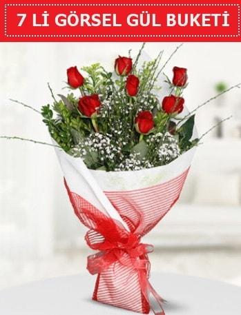 7 adet kırmızı gül buketi Aşk budur  Muş çiçek satışı