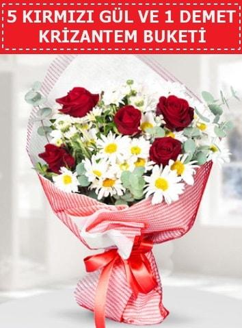 5 adet kırmızı gül ve krizantem buketi  Muş çiçek satışı