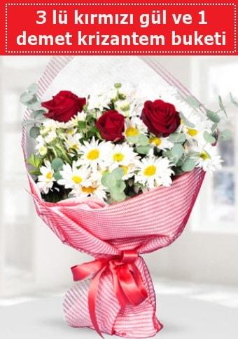 3 adet kırmızı gül ve krizantem buketi  Muş çiçek gönderme sitemiz güvenlidir