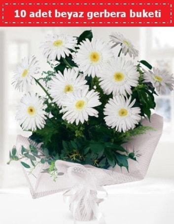 10 Adet beyaz gerbera buketi  Muş çiçek , çiçekçi , çiçekçilik