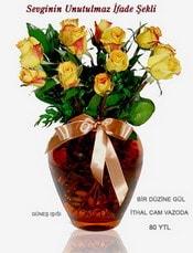 Muş internetten çiçek satışı  mika yada Cam vazoda 12 adet sari gül